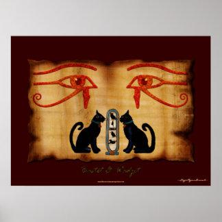Impresión egipcia del arte de Bastet y de Wadjet Póster