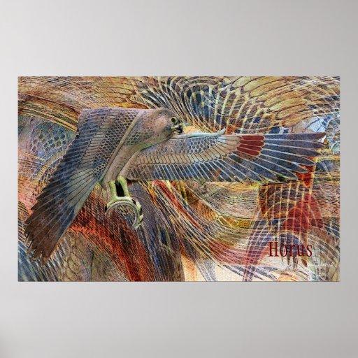 Impresión egipcia del halcón póster