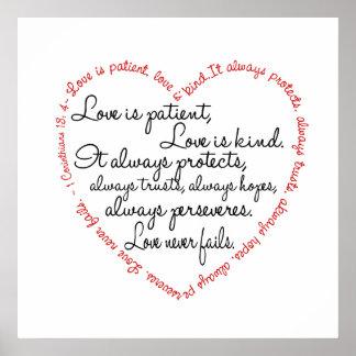 Impresión - el amor es corazón paciente de la pala posters