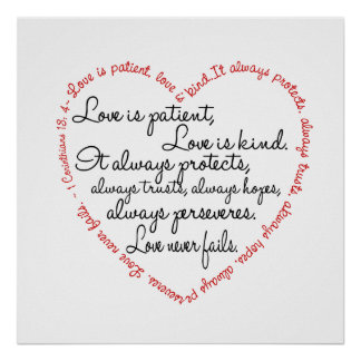 Impresión - el amor es corazón paciente de la pala póster