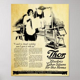 Impresión eléctrica de la lavadora de la marca del póster