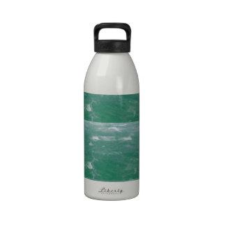 Impresión elegante de las ondas VERDES de MAR PROF Botella De Agua