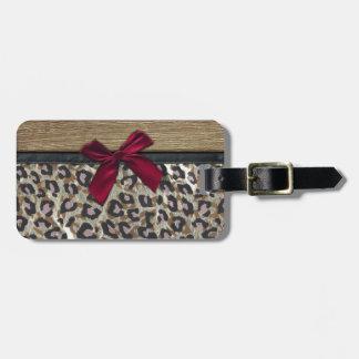Impresión elegante del guepardo del oro etiqueta de equipaje
