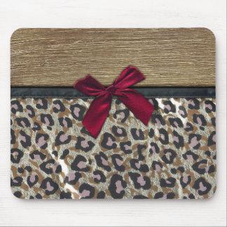 Impresión elegante del guepardo del oro tapetes de ratón