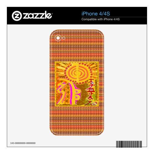 Impresión embotada del vintage: Los símbolos curat iPhone 4 Skin