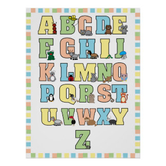 Impresión (en colores pastel) animal del alfabeto póster