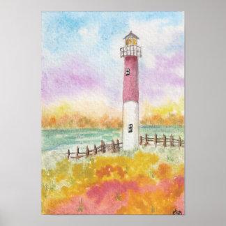 Impresión en colores pastel del faro póster