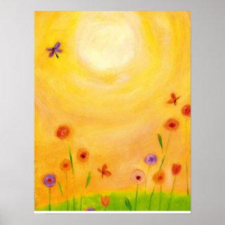 impresión en colores pastel floral póster