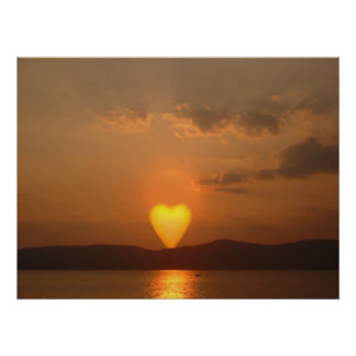 Impresión en forma de corazón de Sun Póster