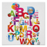 impresión enmarcada alfabeto loco del dibujo anima poster