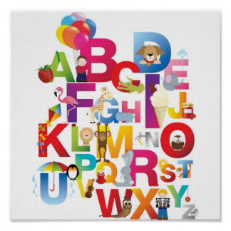 impresión enmarcada alfabeto loco del dibujo anima póster
