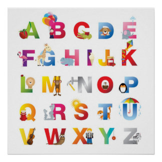 impresión enmarcada del alfabeto póster