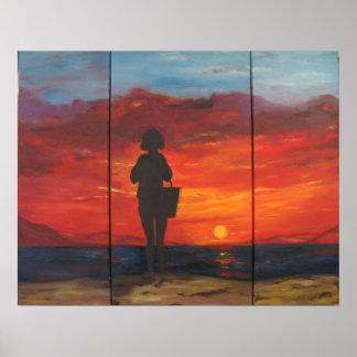 Impresión enmarcada puesta del sol posters