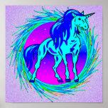 Impresión enmarcada unicornio azul poster