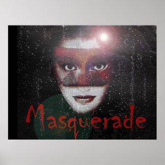 Impresión enmascarada del art déco de la mujer de  póster