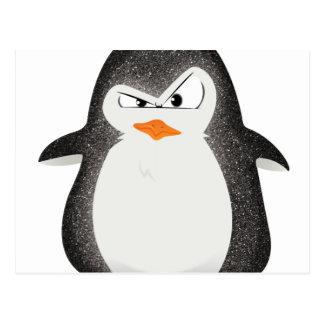 Impresión enojada de la foto del brillo del pingüi tarjetas postales