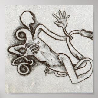 impresión enredada de la lona del hombre que agita póster