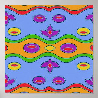 Impresión enrrollada colorida brillante del arte póster