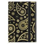 Impresión enrrollada de Paisley en negro y oros iPad Mini Protectores