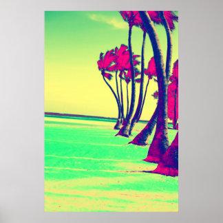 impresión enrrollada del diseño de la playa poster