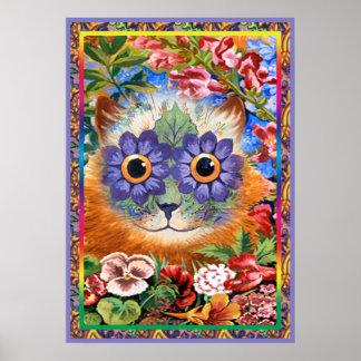 Impresión enrrollada del poster del gato de la flo