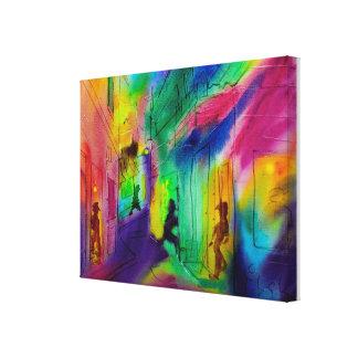 Impresión envuelta azules de la lona de la calle d lienzo envuelto para galerías