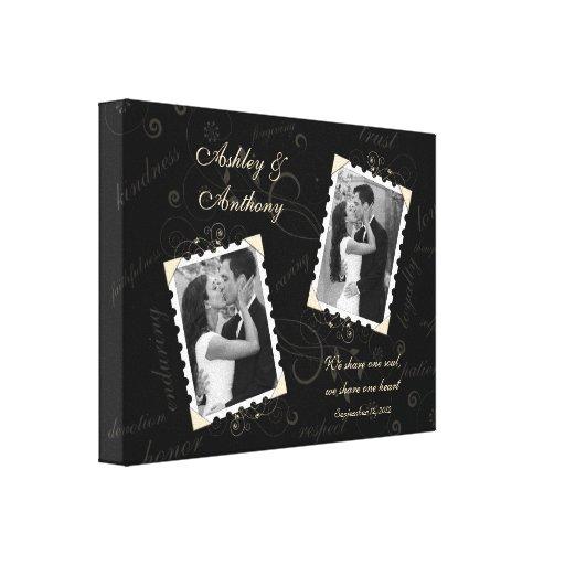 Impresión envuelta foto de marfil negra de la lona lona envuelta para galerias