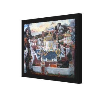 Impresión envuelta mural tailandés de la lona lienzo envuelto para galerías