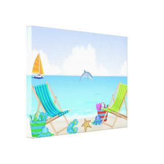 Impresión envuelta playa de relajación de la lona lona envuelta para galerías