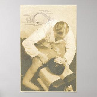 Impresión espinal del vintage del ajuste de la qui poster