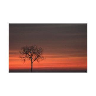 Impresión estirada árbol de la lona de la silueta