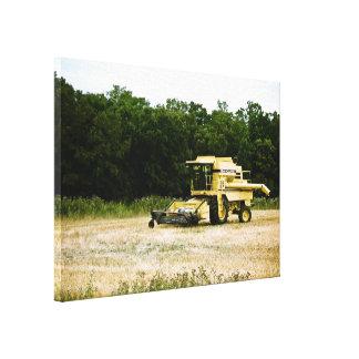Impresión estirada cosechadora amarilla de la lona impresión de lienzo