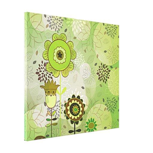 Impresión estirada mural verde decorativo de la lo lona envuelta para galerias