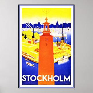 Impresión Estocolmo del poster del vintage grande