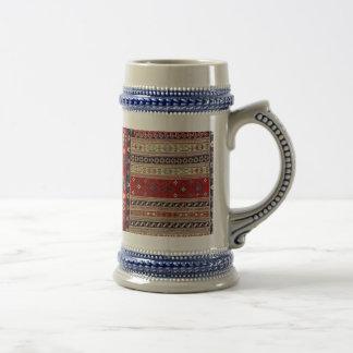 Impresión étnica de la tapicería jarra de cerveza