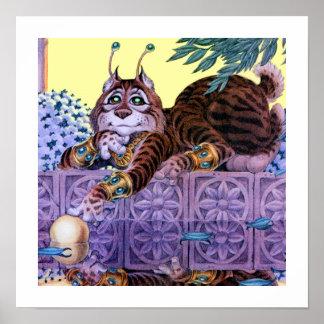 Impresión extranjera del gatito póster