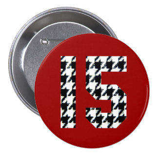 Impresión fantástica de quince Houndstooth Pin Redondo De 3 Pulgadas