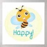 Impresión feliz del bebé de la abeja poster