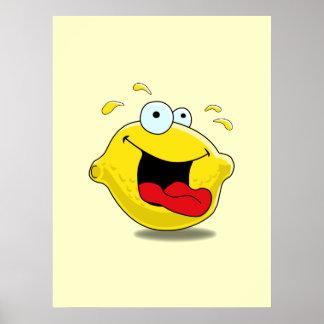 Impresión feliz del limón del dibujo animado