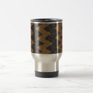 Impresión femenina de la foto del brillo del zigza taza de café