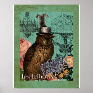 Impresión femenina del arte del collage del búho