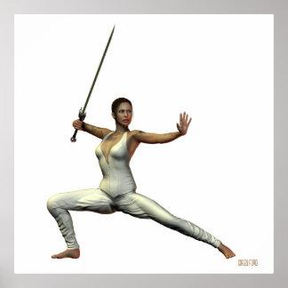 Impresión femenina del guerrero poster