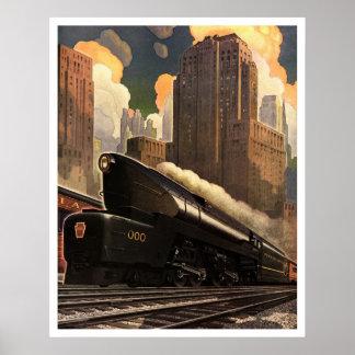 Impresión ferroviaria del poster de los E.E.U.U. d
