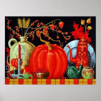 Impresión festiva de la tabla del otoño poster