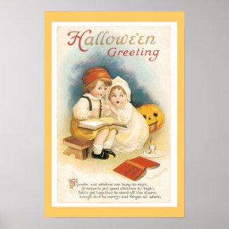 Impresión fina de Halloween del vintage Posters