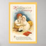 Impresión fina de Halloween del vintage Póster