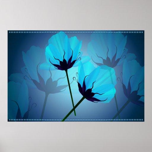 Impresión Flor-confinada azul eléctrico Impresiones