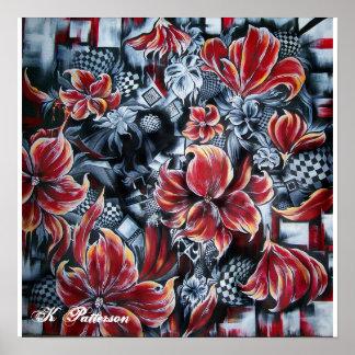 Impresión floral abstracta póster