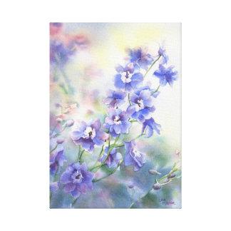 Impresión floral azul púrpura del Delphinium en lo Lienzo Envuelto Para Galerias