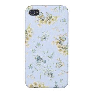 Impresión floral azul y blanca del vintage iPhone 4 carcasa